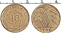Изображение Монеты Веймарская республика 10 пфеннигов 1936 Латунь XF J