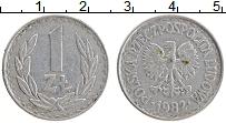 Изображение Монеты Польша 1 злотый 1982 Алюминий XF