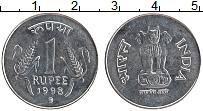 Изображение Монеты Индия 1 рупия 1998 Медно-никель UNC-