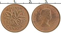 Изображение Монеты Канада 1 цент 1964 Бронза XF Елизавета II. Кленов