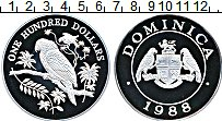 Продать Монеты Доминиканская республика 100 долларов 1988 Серебро