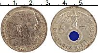 Изображение Монеты Третий Рейх 5 марок 1938 Серебро XF J. Пауль фон Гинденб