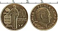 Изображение Монеты Монако 10 сентим 1975 Латунь UNC- Ранье III