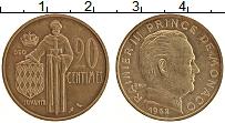 Изображение Монеты Монако 20 сентим 1962 Латунь UNC- Ранье III