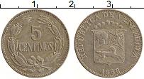 Изображение Монеты Венесуэла 5 сентим 1958 Медно-никель XF