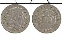 Изображение Монеты Колумбия 10 сентаво 1954 Медно-никель XF