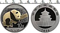 Изображение Монеты Китай 10 юаней 2016 Серебро UNC Панда. Чернение роди