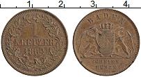Продать Монеты Баден 1 крейцер 1864 Медь