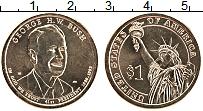 Изображение Мелочь США 1 доллар 2020 Латунь UNC 41-й президент США Д