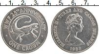 Изображение Монеты Теркc и Кайкос 1 крона 1988 Медно-никель UNC- Елизавета II. 25 лет
