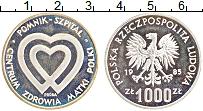 Изображение Монеты Польша 1000 злотых 1985 Серебро Proof- Центр здоровья матер