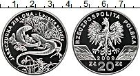 Изображение Монеты Польша 20 злотых 2009 Серебро Proof Зелёная ящерица
