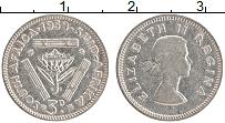Изображение Монеты ЮАР 3 пенса 1958 Серебро XF Елизавета II.
