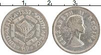 Изображение Монеты ЮАР 6 пенсов 1957 Серебро XF Елизавета II.