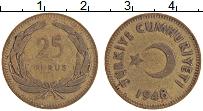 Изображение Монеты Турция 25 куруш 1948 Латунь XF-