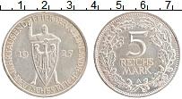 Изображение Монеты Веймарская республика 5 марок 1925 Серебро UNC- Рейнланд А