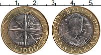 Изображение Монеты Сан-Марино 1000 лир 1999 Биметалл UNC Новая жизнь