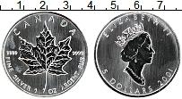 Изображение Монеты Канада 5 долларов 2001 Серебро UNC Кленовый лист
