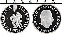 Изображение Монеты Норвегия 100 крон 1992 Серебро Proof XVII Зимние Олимпийс