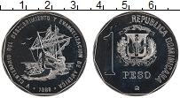 Изображение Монеты Доминиканская республика 1 песо 1989 Медно-никель UNC 500 лет открытия Аме