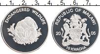Изображение Монеты Малави 10 квач 2005 Посеребрение Proof Сохранение животного