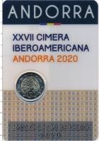 Изображение Подарочные монеты Андорра 2 евро 2020 Биметалл UNC XXVII Иберро-Америка