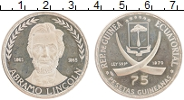 Изображение Монеты Экваториальная Гвинея 75 песет 1970 Серебро Proof- Авраам Линкольн