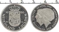 Изображение Монеты Нидерланды 1 гульден 1980 Медно-никель UNC- Юлиана и Беатрикс.Пе