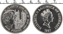 Изображение Монеты Гернси 5 фунтов 1997 Медно-никель UNC 50 лет свадьбы Корол