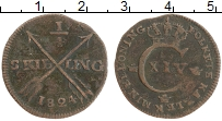 Изображение Монеты Швеция 1/4 скиллинга 1824 Медь XF- Карл XIV Юхан (Редки