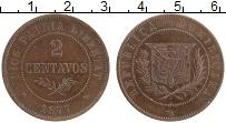 Изображение Монеты Доминиканская республика 2 сентаво 1877 Медь UNC-