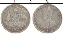 Изображение Монеты Австралия 6 пенсов 1911 Серебро XF Георг V
