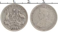 Изображение Монеты Австралия 6 пенсов 1924 Серебро VF Георг V