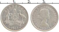 Изображение Монеты Австралия 6 пенсов 1963 Серебро XF Елизавета II