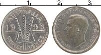 Изображение Монеты Австралия 3 пенса 1948 Серебро VF Георг VI