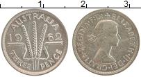 Изображение Монеты Австралия 3 пенса 1962 Серебро UNC- Елизавета II