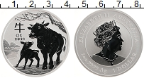 Изображение Монеты Австралия 1 доллар 2021 Серебро UNC Год Быка