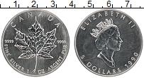 Изображение Монеты Канада 5 долларов 1990 Серебро UNC Кленовый лист