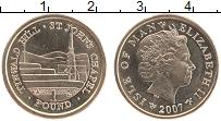 Изображение Монеты Остров Мэн 1 фунт 2007 Латунь UNC- Елизавета II. Гора Т