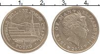 Изображение Монеты Остров Мэн 1 фунт 2014 Латунь UNC- Елизавета II. Гора Т