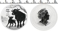 Изображение Монеты Австралия 1 доллар 2021 Серебро Proof Год Быка