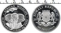 Изображение Монеты Сомали 100 шиллингов 2021 Серебро Proof Слон