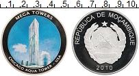 Изображение Монеты Мозамбик Жетон 2010 Посеребрение Proof Башня Аква в Чикаго,