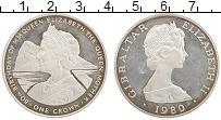 Изображение Монеты Гибралтар 1 крона 1980 Серебро Proof- 80-летие Королевы-Ма