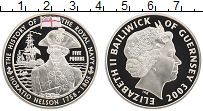Изображение Монеты Гернси 5 фунтов 2003 Серебро Proof Адмирал Нельсон