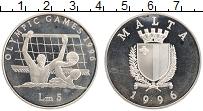 Изображение Монеты Мальта 5 лир 1996 Серебро Proof- Олимпийские игры в А