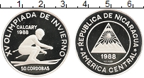Изображение Монеты Никарагуа 50 кордоба 1988 Серебро Proof Олимпиада в Калгари