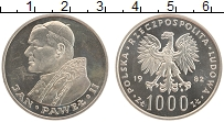 Изображение Монеты Польша 1000 злотых 1982 Серебро UNC Иоанн Павел II