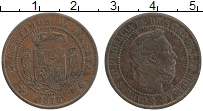 Изображение Монеты Испания 5 сентим 1875 Медь XF+ Карл VII - претинден
