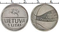 Изображение Монеты Литва 1 лит 2011 Медно-никель UNC- Чемпионат Европы по
